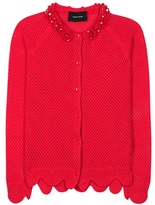 Simone Rocha Merino, silk and cashmere-blend open knit embellished cardigan