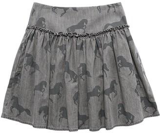 Stella McCartney Kids Horses Print Cotton Chambray Skirt