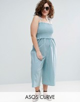 Asos Jumpsuit In Cotton With Shirred Bodice