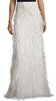 Alice + Olivia Webbed Feather Maxi Skirt, Cream