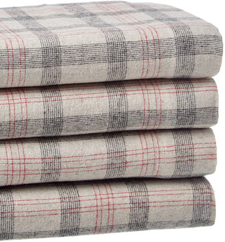 Belle Epoque Plaid Flannel Grey Red Sheet Set