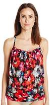 Fit 4 U Women's Flamenca Fit 4 Ur Tummy Mesh Blouson Tankini with Racer Back