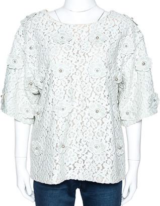 Chloé Vert D Eau Floral Lace Appliqued & Bead Embellished Blouse M