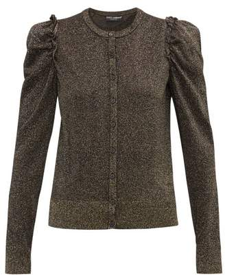 Dolce & Gabbana Frilled Trimmed Lurex Cardigan - Womens - Black Gold