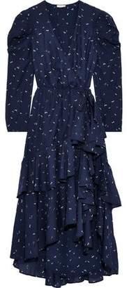 Joie Miraly Wrap-effect Printed Seersucker Midi Dress