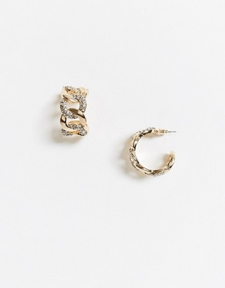 ASOS DESIGN hoop earring in crystal curb chain in gold tone
