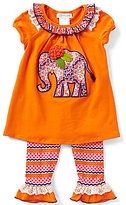 Bonnie Jean Little Girls 2T-6X Elephant Dress & Patterned Leggings Set
