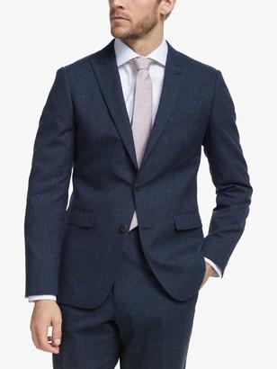 John Lewis & Partners Wool Silk Linen Slub Check Slim Fit Suit Jacket, Navy
