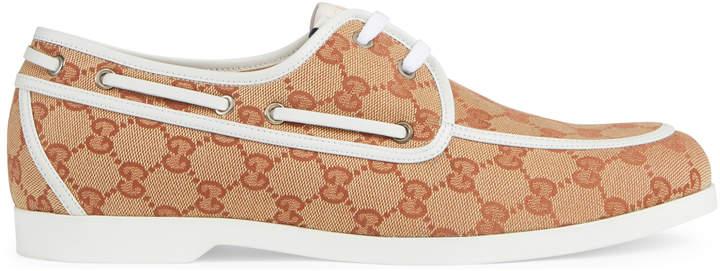 Gucci GG canvas boat shoe