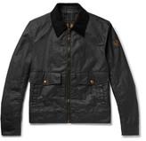 Belstaff Mentmore Slim-fit Corduroy-trimmed Waxed-cotton Jacket - Black