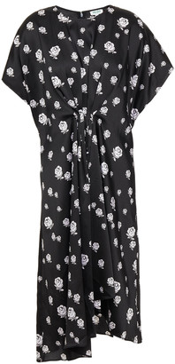 Kenzo Gathered Printed Satin-twill Dress