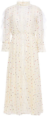 Valentino Ruffled Lace-trimmed Embroidered Cotton-blend Voile Mdi Dress