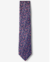 Express narrow bright floral silk tie