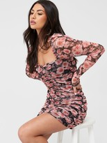 Missguided Floral Ruched Mesh Long Sleeve Mini Dress - Pink