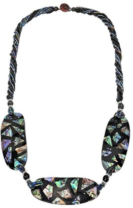 Aeravida Handmade Stunning Mosaic Trio of Abalone Shell Medallions Statement Necklace