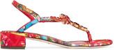 Dolce & Gabbana Crystal-embellished printed brocade sandals