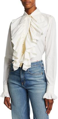 Victoria Beckham Ruffle Front Button-Down Shirt