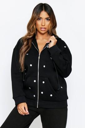 boohoo Jewel Embellished front zip hoodie