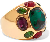 Kenneth Jay Lane Gold-plated Crystal Ring - one size
