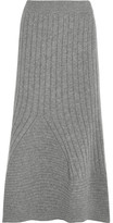 Stella McCartney Flared Ribbed Wool Midi Skirt - Light gray