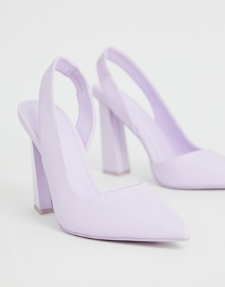 Asos Design DESIGN Padlock slingback pointed high heels-Purple