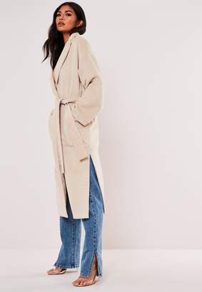Missguided Cream Long Wrap Belted Coat