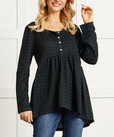 Suzanne Betro Women's Tunics 101FOREST - Green & Navy Gingham Henley Babydoll Tunic - Women