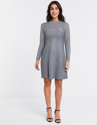 Vero Moda knit skater dress in gray