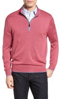 David Donahue Men's Silk Blend Quarter Zip Sweater