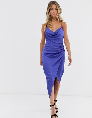Forever New ruched slip midi dress with metal hoop back detail in cobalt-Blue