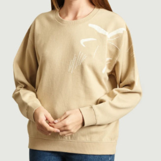 Folk Beige Cotton Charm Embellished Sweatshirt - cotton | beige | UK 2 - Beige