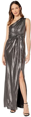 Adrianna Papell Metallic Waffle Knit One Shoulder Draped Column Gown (Black/Gunmetal) Women's Dress