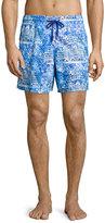 Vilebrequin Moorea Hotel-Print Swim Trunks, Blue Pattern