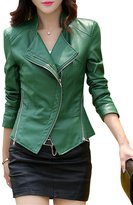 Tanming Women's Short Slim Slant Zip Faux Leather Moto Jacket Multiple Colors