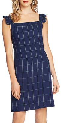 CeCe Windowpane-Check Ruffle-Strap Dress