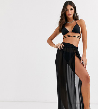 Asos Tall ASOS DESIGN TALL twist front recycled maxi beach skirt in black