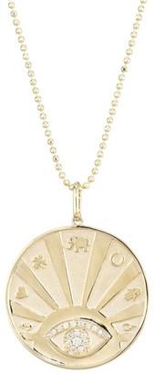Sydney Evan 14K Gold & Diamond Evil Eye Luck Coin Pendant Necklace