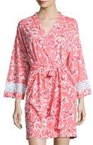 Oscar de la Renta Print Cotton Wrap Robe, Coral