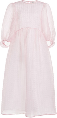 Cecilie Bahnsen Karmen Textured Silk-Blend Chiffon Midi Dress