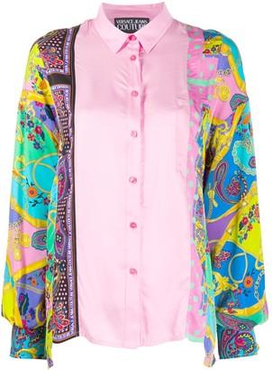 Versace Jeans Couture Mix-Print Satin Shirt