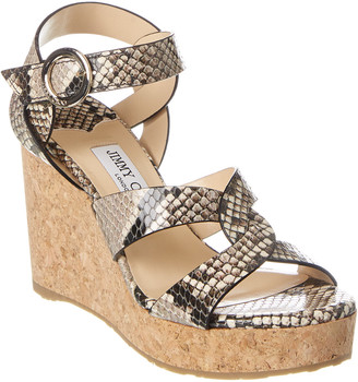 Jimmy Choo Aleili 100 Snake-Embossed Leather Wedge Sandal