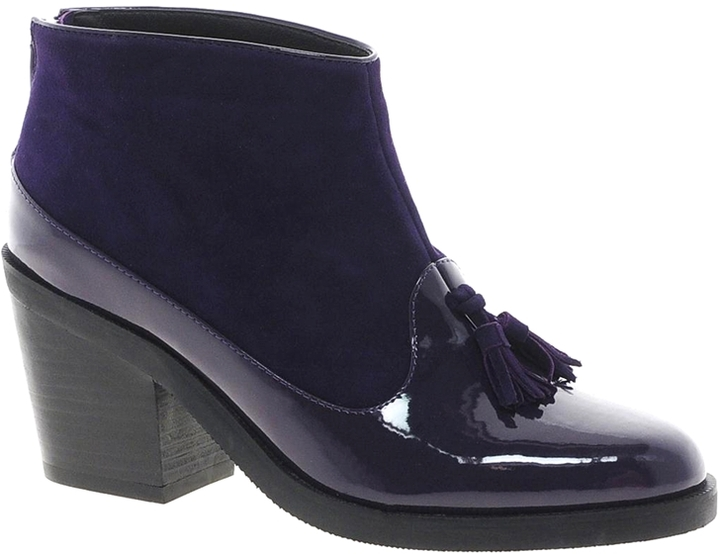 Asos ADVOCATE Suede Mix Ankle Boots - Purple