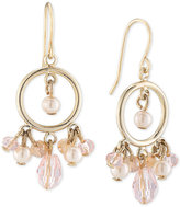 Carolee Gold-Tone Imitation Pearl and Rose Quartz Gypsy Hoop Earrings