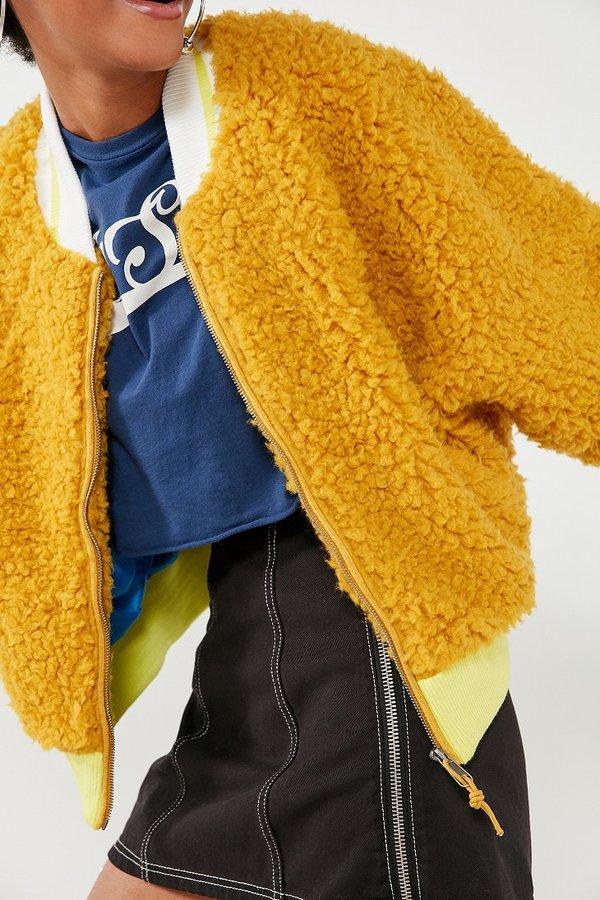 brand BDG BDG Farah Fuzzy Bomber Jacket