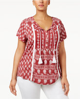 Style&Co. Style & Co Plus Size Printed Peasant Top, Created for Macy's