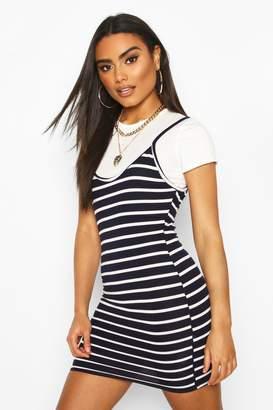 boohoo 2 In 1 T-Shirt & Striped Slip Dress