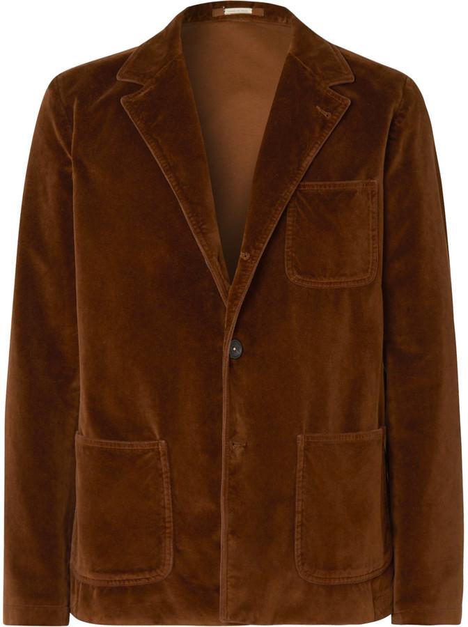 Massimo Alba Brown Slim-Fit Unstructured Cotton-Velvet Blazer