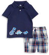 Kids Headquarters Boys 2-7 Little Boys Dino Polo and Plaid Shorts Set