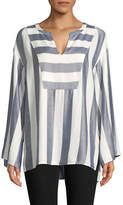 Two By Vince Camuto Striped Bell-Sleeve Top