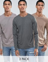Asos 3 Pack Long Sleeve T-Shirt With Crew Neck SAVE